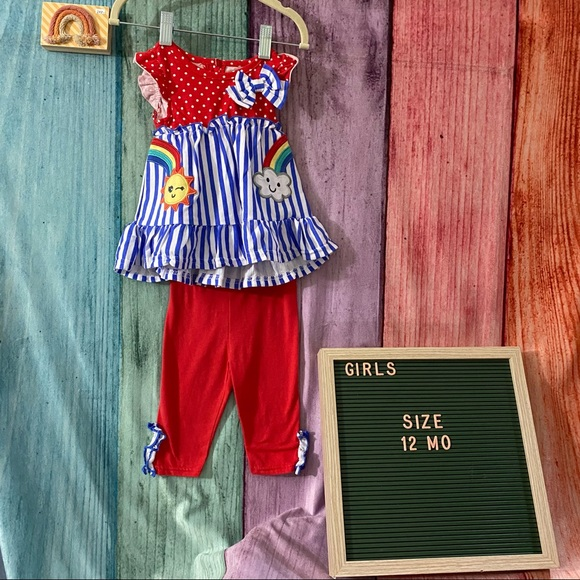 NWT Nannette 12 Mo Rainbow Outfit